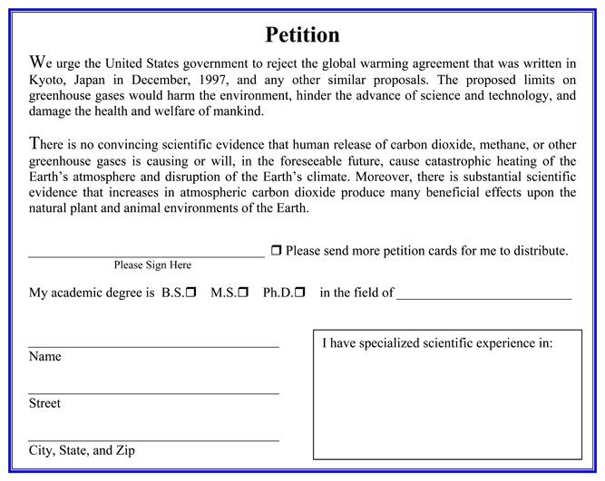 The Oregon Global Warming Petition Form